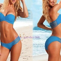Sexy Women 2pcs Lady Padded Swimwear Suit Bandeau Bra bathing Bikini Strap S M L