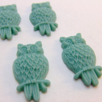 Gray Blue Sitting Owl Cabochons (4)