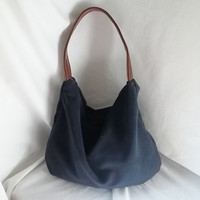 Navy Blue Handbag  Navy Blue Suede Hobo bag  Ultra by ACAmour