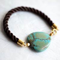 Turquoise and Brown Cord Bracelet by pardes israel by pardes