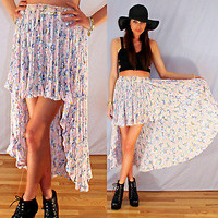 vtg 80s pink floral boho festival skirt FISHTAIL hem mini maxi grunge hippie SML