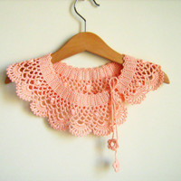 Collar Necklace, Handmade crochet Peter Pan Collar Necklace,  Salmon cotton collar, ready to shipping, for her.