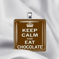 Keep Calm and Eat Chocolate Glass Tile Pendant by izzysplace