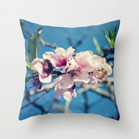 Nectarine Blossoms Throw Pillow by Around the Island (Robin Epstein) | Society6
