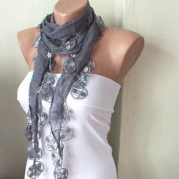 Grey sky grey Cotton Scarf with Lace by Periay on Etsy