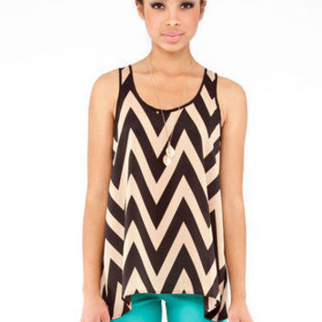 Zig Zag Cross Back Top in Black :: tobi