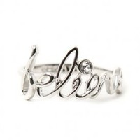 disney couture jewelry - believe script ring w/ accent stone (platinum plated) - Disney Couture Jewelry | 80's Purple