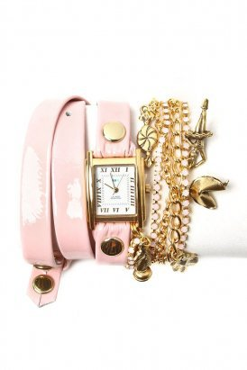 la mer - women's crystal ballerina chain wrap watch (ballet slipper pink) - La Mer | 80's Purple