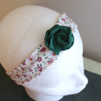 Green Flower Headband, Narrow Fashion HairBand, Skinny Headband, Shabby Chic Headband, Workout Headband, Cotton Fabric Headband