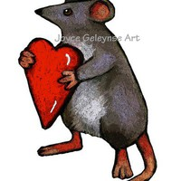 Mouse Holding Heart: Printable Clip Art: Oil Pastel Illustration