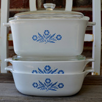 Blue Cornflower Corning Ware Casserole Dishes 1970's