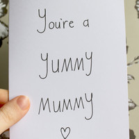 Yummy Mummy mother's day card by smuttydraws on Etsy