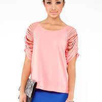 Shredded Sleeve Top in Salmon :: tobi