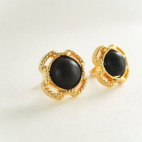 Small Vintage Gold Frame Black Stud Earrings, vintage button earrings, bridesmaid earrings, button earrings,cross studs,spring jewelry