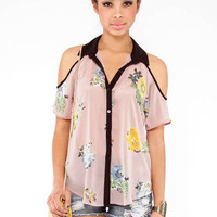 Print Collar Cut Out Shirt in Mauve :: tobi
