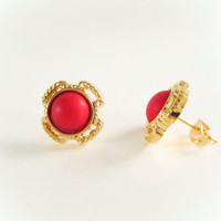 Small Vintage Red Rope Frame Earrings ,Gold Cross Earrings, Vintage earrings, Valentines Day, Bridesmaid Earrings,  Small Earrings