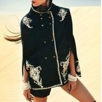 Embroidered wool-blend cape coat