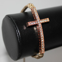 Tan Pink Adorable Cross Bracelet