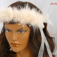Soft Pink Pearl-Feather Hair Band