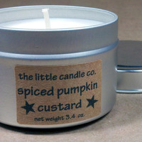 Soy Candle Tin Spiced Pumpkin Custard Scented by littlecandles