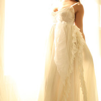 White Romance Soft Bohemian Wedding Gown by whiteromance on Etsy