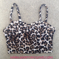 Studded Bustier Crop Top Leopard  - Gold or Silver or Black Studs -