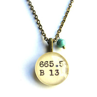 Turquoise Howlite Tiny Teal Bead Dewey Decimal Dark Brass Necklace Book Lover Librarian Gift