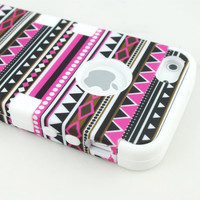 3-Piece Tribal Tribe Hybrid High Impact Hard Snap On Case for iPhone 5 5G White
