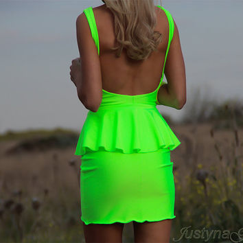 NEON LIME Low Open Back Peplum Mini Dress By designer by JustynaG