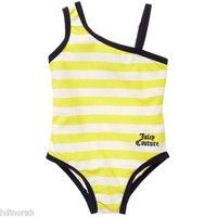 NWT Juicy Couture Baby Girls Striped One Shoulder Swimsuit 3 6 M