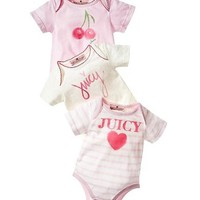 NWT Juicy Couture Baby Girls 3 Pack Assorted Bodysuit 0 3 M