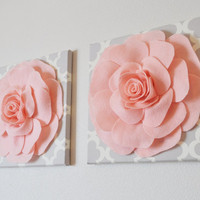 TWO Wall Flowers -Light Pink Roses on Gray and White Tarika Print 12 x12&quot; Canvases Wall Art- Baby Nursery Wall Decor-