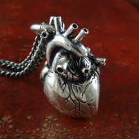 Valentines Day Heart Jewelry Anatomical Heart Necklace Antique Silver Anatomical Heart on 32&quot; Gunmetal Chain