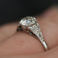 Vintage Diamond &amp; Platinum Solitaire Engagement Ring by RubyGrays