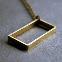 Geometric Jewelry: Geometric Rectangle Pendant Necklace, minimalist and simple