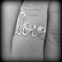 love jewelry.wire love rings.custom word rings.gift box included.weddings.bridemaids gifts.