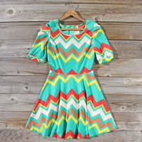 Misty Morn Chevron Dress, Sweet Women's Bohemian Clothing