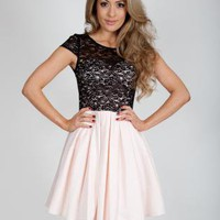 Nude &amp; Black Lace Skater Dress with Cap Sleeves&amp;Cutout Back