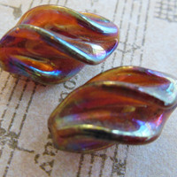 Vintage glass beads topaz amber AB irridescent fin twist swirl focal beads handmade Cherry Brand Occupied  Japan (2)