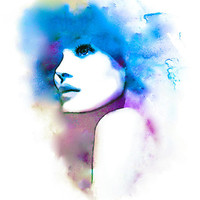 Violet and Blue Hues- Watercolor Fashion Illustration Abstract Giclée Print