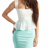 lace peplum dress &amp;#36;31.70 in IVORYMINT - New Dresses | GoJane.com