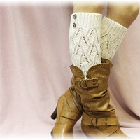LW18 Cream crochet leg warmer with 2 buttons