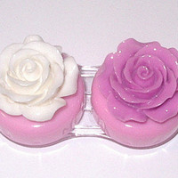 Purple & White rose contact lens case~~Pink