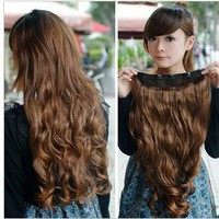 One Piece long curl/curly/wavy hair extension clip-on fashion WIG BLACK BROWN