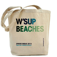 Wsup Beaches - Personalized Beach Bag - Canvas Tote Bag - Classic Shopper - FREE SHIPPING
