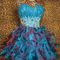 TEAL SHORT PROM PAGEANT FORMAL PARTY EVENING WEDDING BALL GOWN DRESS XS 2/4