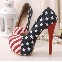 HOT 14cm Sexy Party Pumps Shoes American Flag Stiletto platform High Heels Blue