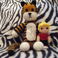 Calvin and Hobbes inspired crochet amigurumi by LottiesCreations