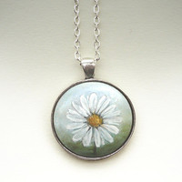 Elegant Necklace Daisy Pendant, White Flower, Hand Painted Wood Necklace, Charm, Floral Jewelry, Handmade Craft