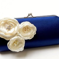 Navy Blue Bridal Clutch  Navy Bridesmaid Clutch by FallenSparrow
